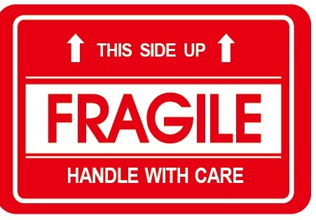 "2″ x 3″ ""this side up with fragile handle with care "" stickers"